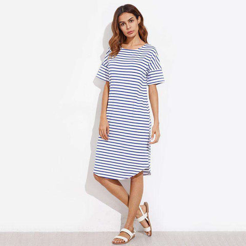 Curve Hem Striped Short Sleeve Knee Length Blue Round Neck Shift Dress