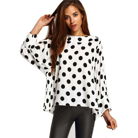 Black Polka Dots Long Sleeve Round Neck Loose Tops