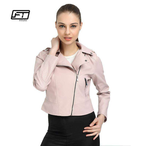 Pink Leather Short Design Slim PU Jackets - WS-Jackets