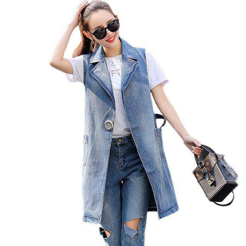 Ripped Long Turn-down Collar Sleeveless Denim Jacket - Wear.Style