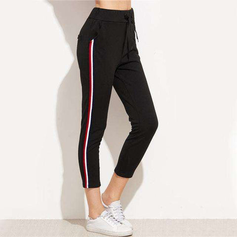 Striped Side Drawstring Casual Black Mid Waist Cropped Sweatpants