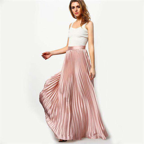Pleated Hight Waist Designer Elastic Waist Maxi Skirt