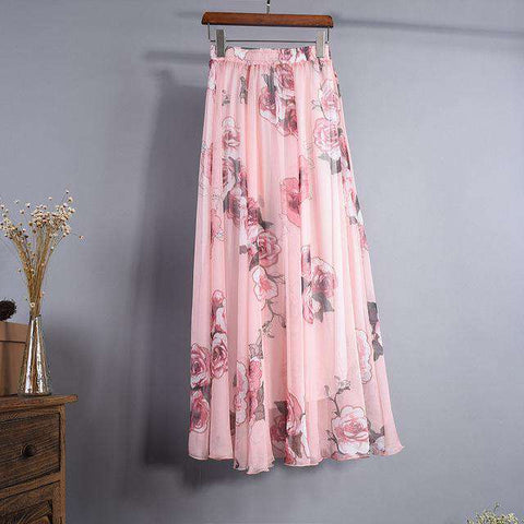 Chiffon Floral Long Maxi Loose Flowing Skirt - Wear.Style