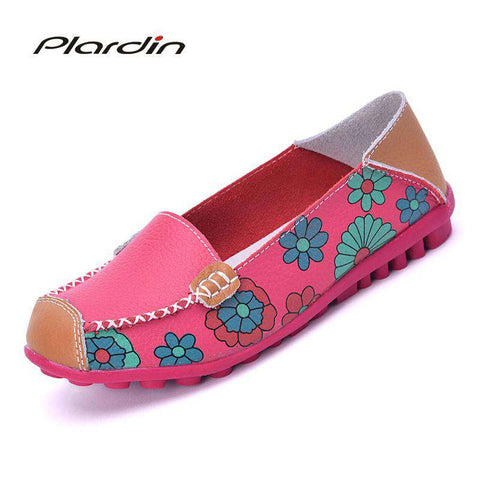 Flower Print Genuine Leather Flexible Loafer - Wear.Style