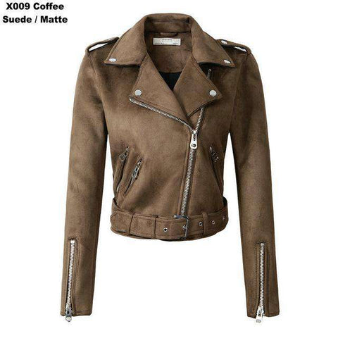 Suede Faux Short Slim Zipper Belted Leather Jackets