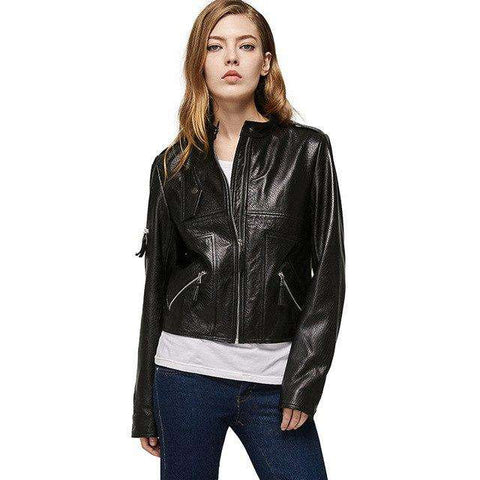 Zippers Mandarin Collar Genuine Leather Jacket