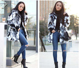 Faux Fur Fuzzy Open Front Long Sleeve Coat