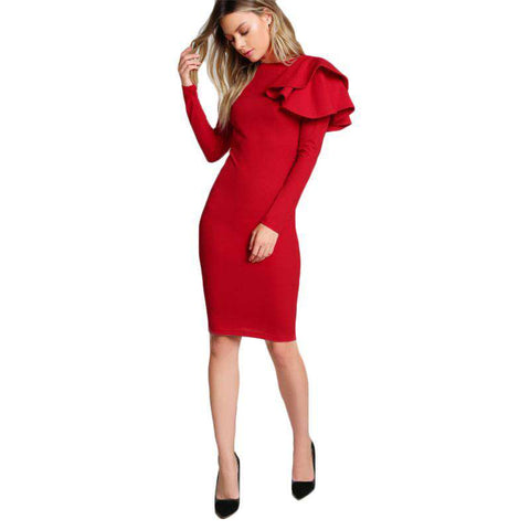 Red One Side Tiered Ruffle Long Sleeve O Neck Sexy Midi Dress