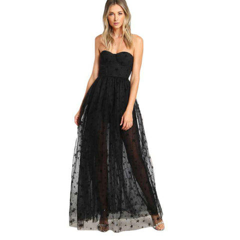 Black Sexy Bustier Star Flock Mesh Overlay Maxi Strapless Sheer Cut Out Dress