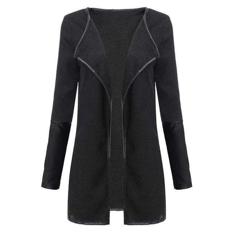 Faux Leather Patchwork Long Sleeve Jacket - WS-Jackets