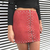 Bead Leather Suede Sexy Slim High Waist Skirt - Wear.Style