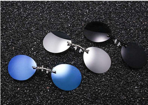 Fashion Clip On Nose Mini Round Rimless Sunglasses UV400