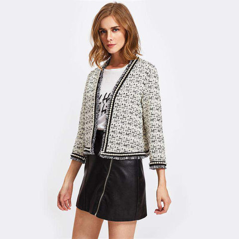 Pearl Beaded Frayed Edge Tweed Fitted Coat