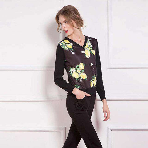 Loose Long Sleeve Fruit Print Pullovers - Wear.Style