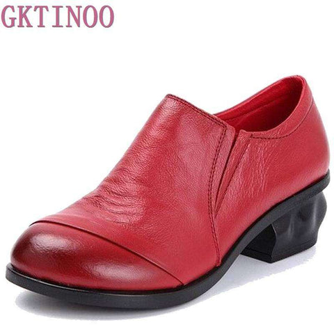 Genuine Leather Thick Med Heels