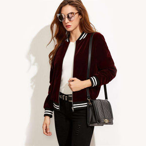 Varsity Striped Velvet Burgundy Stand Collar Long Sleeve Zipper Jacket