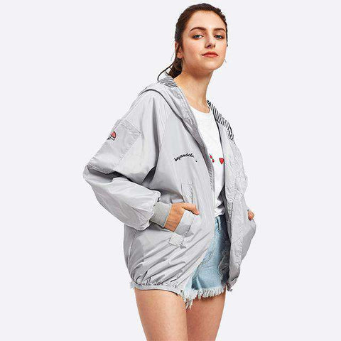 Letter Print Hooded Zip Up Long Sleeve Grey Short Jacket