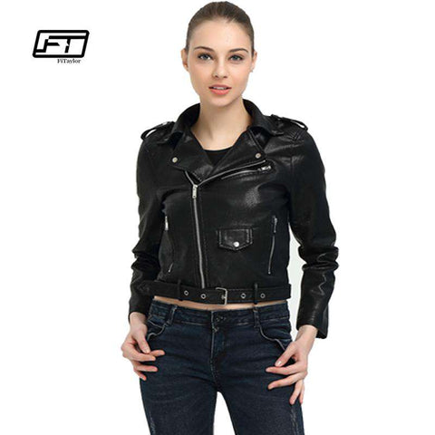 Soft PU Slim Black Jackets With Belt