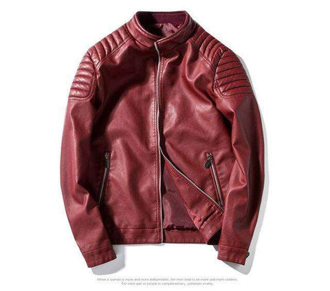 Slim fit zipper PU leather Jacket - Wear.Style