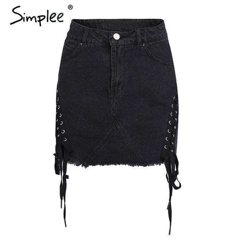 Sexy Lace Up High Waist Pencil Denim Skirt - Wear.Style