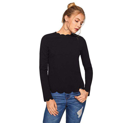 Crew Neck Scallop Trim Fitted Long Sleeve Top