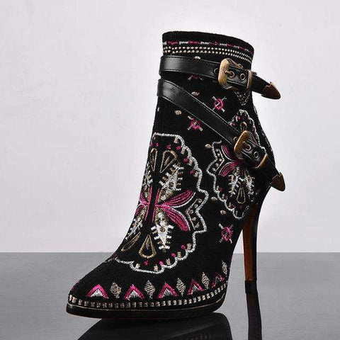 Retro Ethnic Embroidery High Heel Ankle Boots - Wear.Style