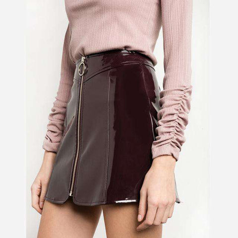 Vintage Faux Leather Short Mini Ring Zipper High Waist Pencil Skirts