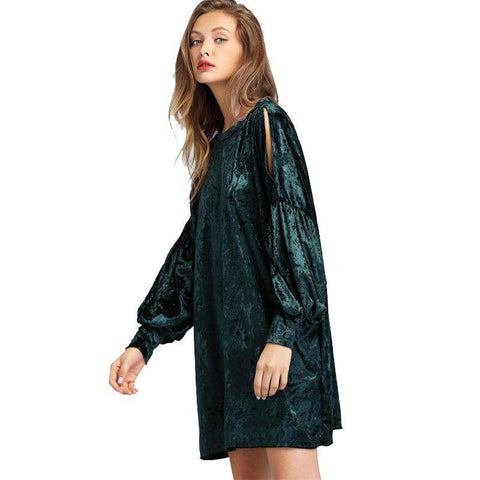 Crushed Velvet Split Shoulder Lantern Long Sleeve Green Round Neck Short Dress