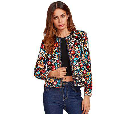 Press Button Placket Botanical Multicolour Collarless Single Breasted Jacket