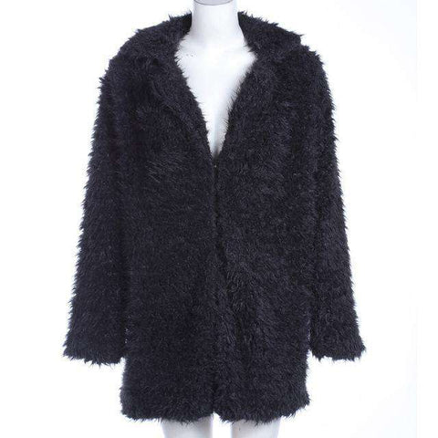 Grey Wool Warm Faux Fur Turn Down Collar Long Sleeve Cardigan