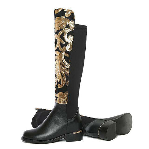 Luxury Designer Bling Gold Sequinned Knee High Genuine Leather Stretch Boots - Wear.Style