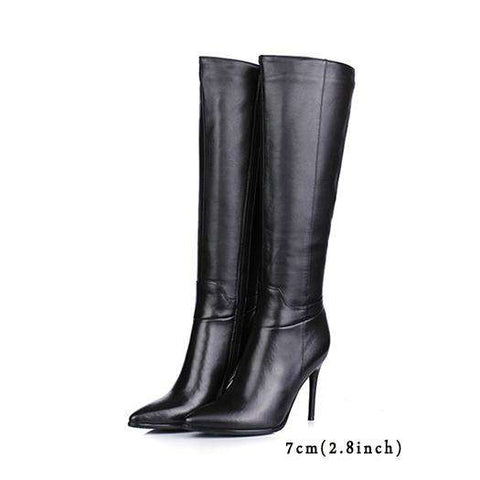 High Heel Leather Boots Knee - Wear.Style