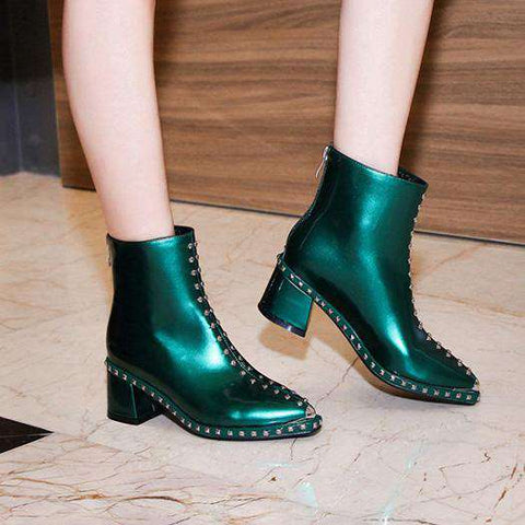 Metal Stud Green patent High Heel