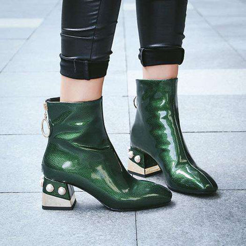 Green Ankle Metal Square Toe Pearl Heel Patent Leather