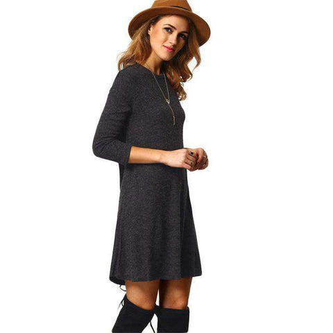 Crew Neck Casual Grey Long Sleeve Shift Dress