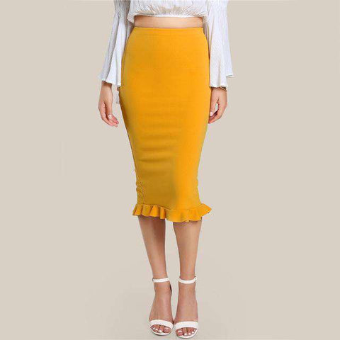 Split Ruffle Pencil Yellow Sexy Slim Elegant High Waist Skirt