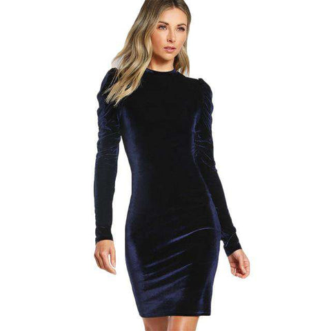 Puff Sleeve Velvet Pencil Navy Long Sleeve Knee Length Party Dresses