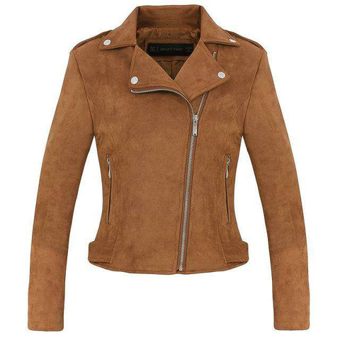 Preppy Style Faux Soft Suede Leather Jacket - WS-Jackets