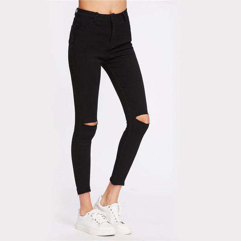 Knee Cut Frayed Hem Skinny Black Zipper Fly Cropped Ripped Jeans