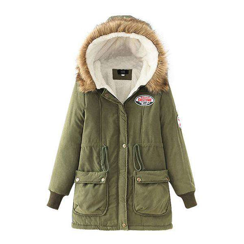 Cotton Padded Slim Hooded Parkas Fleece Lining Jackets