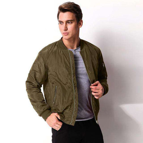 Long Sleeve Zipper Slim Biker Classic Bomber Jacket - WS-Jackets