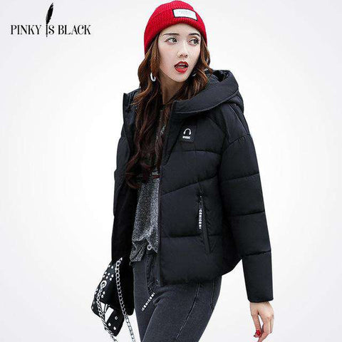 Pinky Is Black Winter Cotton Short Jacket
