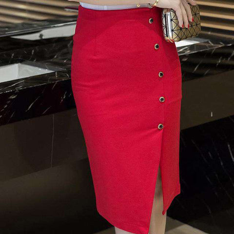 Single-Breasted Hip Slim High Waist Pencil Skirt - Wear.Style