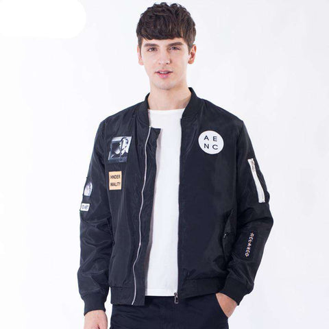 Letter Printed Embroidery Pilot Bomber Jackets