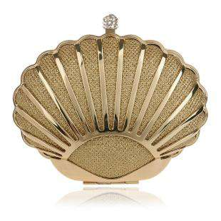 Hollow Out Style Shell Design Diamonds Mixed Clutch With Chain Shoulder Purse