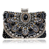 Beaded Rhinestones Diamonds Pearl Handle Chain Shoulder Messenger Bags Clutch