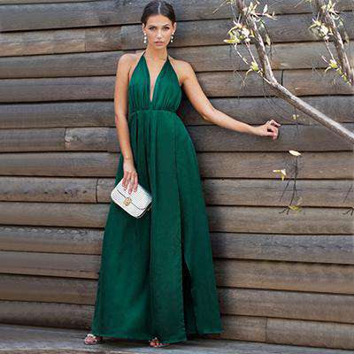 Sexy High Slit Satin Plunge Neck Cross Back Green Sleeveless Wrap Cami Dress