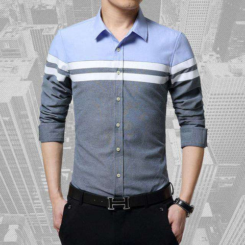 Slim Fit Patchwork Stripe Long Sleeve Shirt - Wear.Style