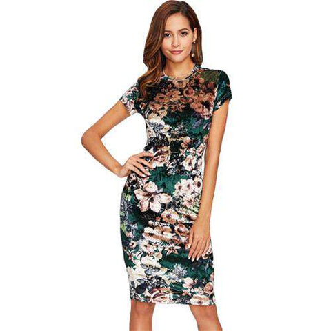 Form Fitting Floral Velvet Green Sexy Short Sleeve Knee Length Pencil Dress