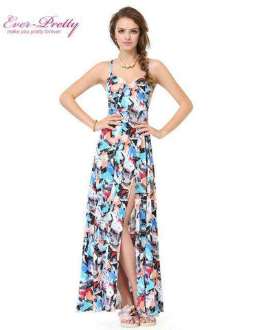 Long Print Spaghetti Strap High Split Evening Dress - Wear.Style